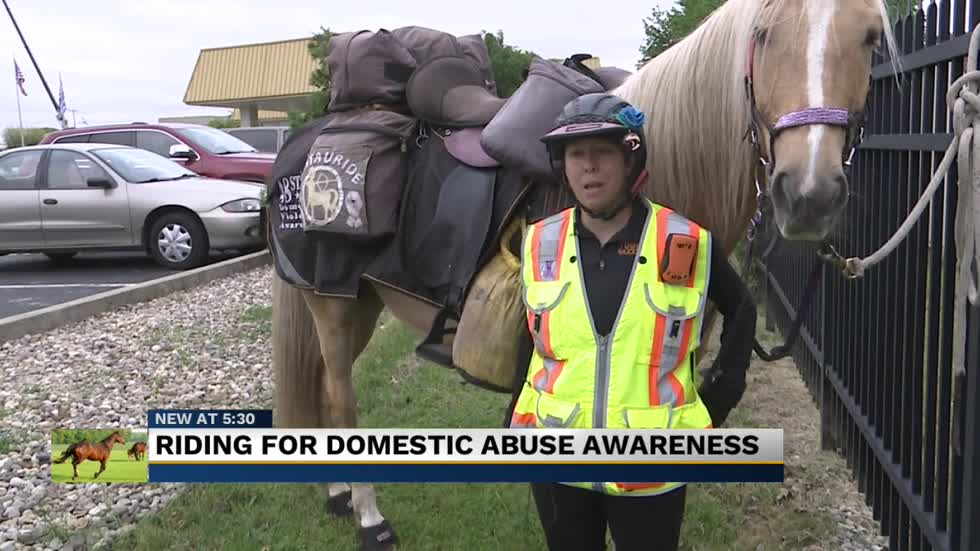 Woman rides horse across United States to bring awareness to domestic violence