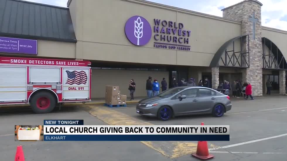 World Harvest Church Elkhart giving away 40,000 ponds of food...