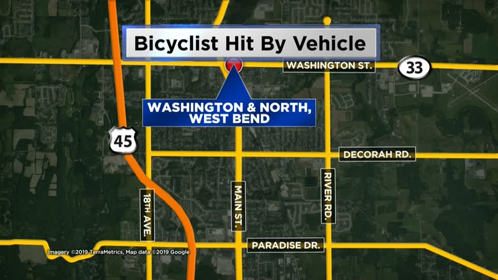 Bicyclist hit by vehicle in West Bend