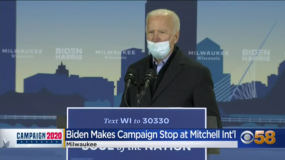 Joe Biden makes campaign stop at Milwaukee's Mitchell International...