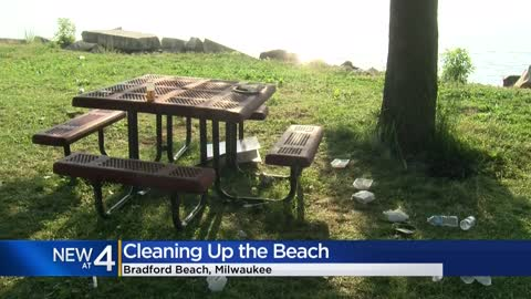 Bradford Beach cleaned after found covered in litter Tuesday,...
