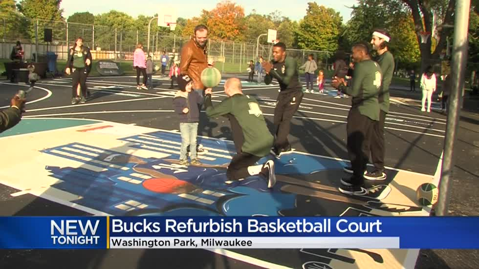 Washington Park basketball court receives Bucks-branded makeover