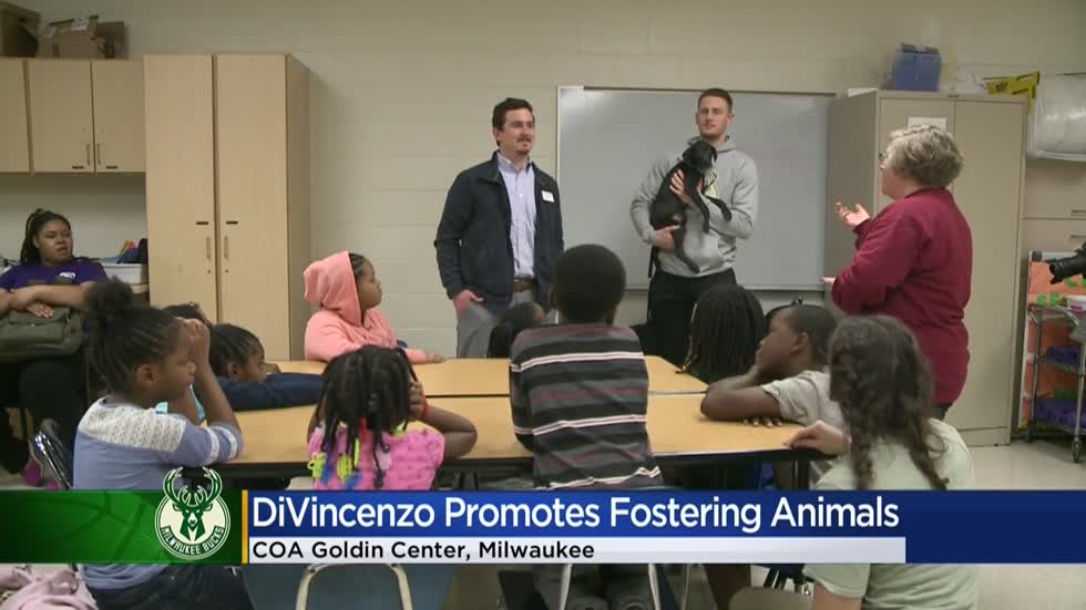 Bucks' Donte DiVincenzo brings dogs to youth center to raise awareness about fostering animals