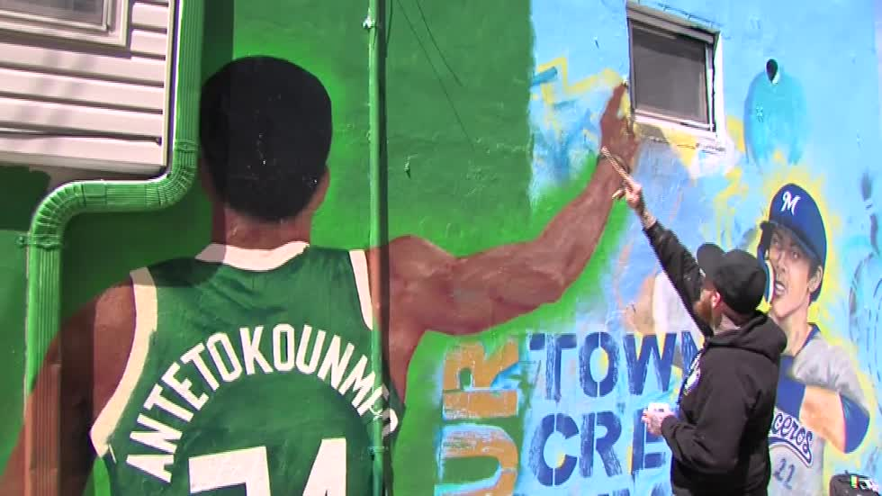 MVP mural in Walker's Point features Giannis Antetokounmpo & Christian Yelich