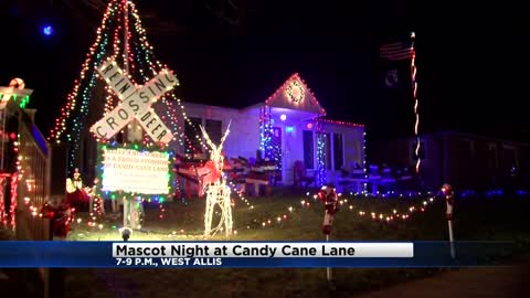 Meet the Mascots at Candy Cane Lane on Friday