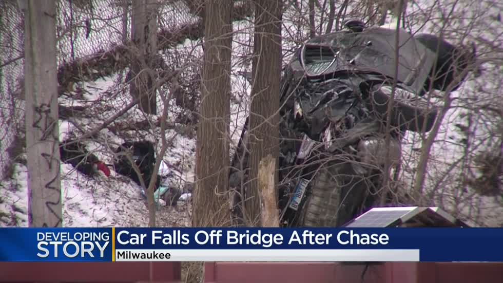 Police chase ends when fleeing vehicle tumbles off entrance to 27th Street bridge
