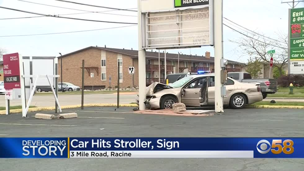 Car crashes into sign, stroller near 3 Mile Road and Erie Street