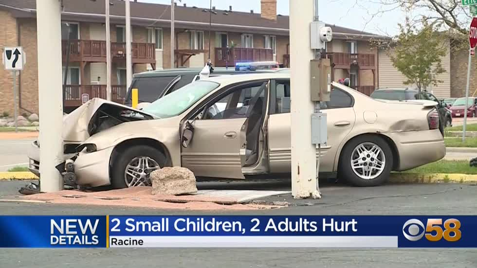 2 children, 2 adults injured when car swerves onto Racine sidewalk;...