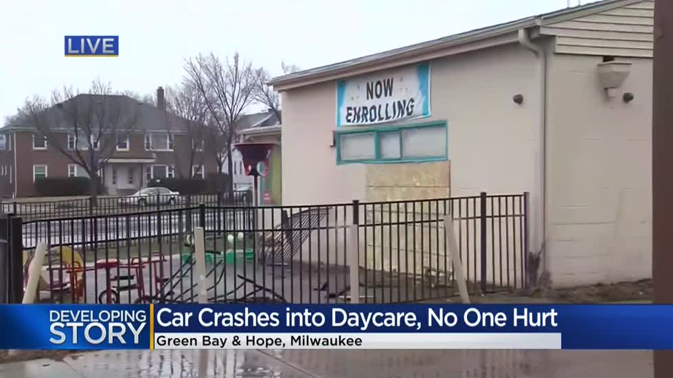 Police: Unlicensed driver slams vehicle into Milwaukee day care near Green Bay and Hope
