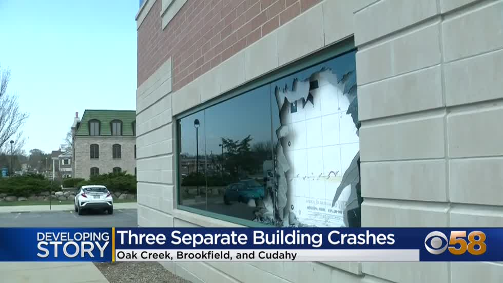 Vehicles crash into 3 Milwaukee-area buildings in 3 separate incidents Tuesday