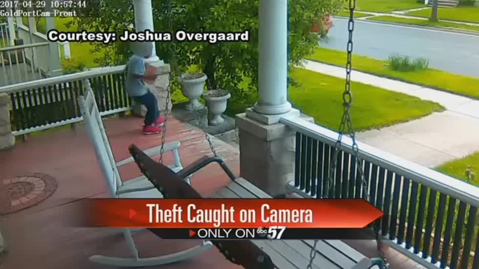 Caught on camera: Kid steals package from neighbor's front porch