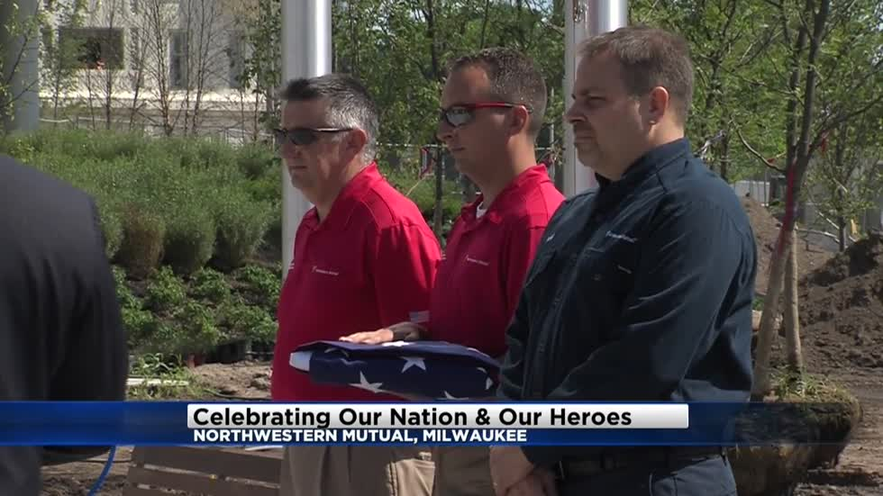 Northwestern Mutual holds commemorative first flag raising at new tower and commons