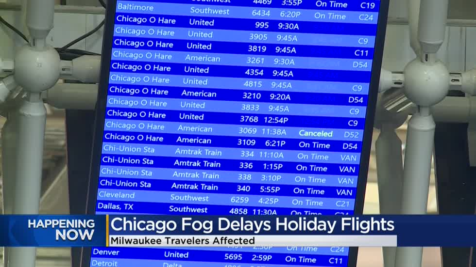 Dense fog impacts Christmas Eve travelers flying through Mitchell International, O'Hare