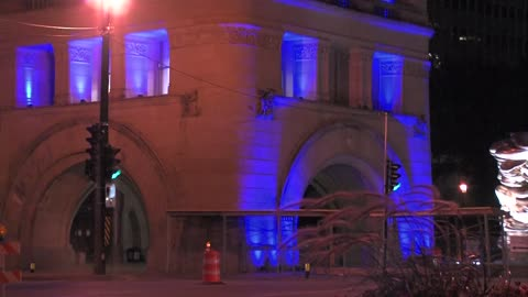 City Hall lit up blue in support of Milwaukee Police Department