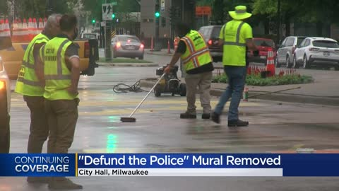 'Defund the Police' mural removed in Milwaukee