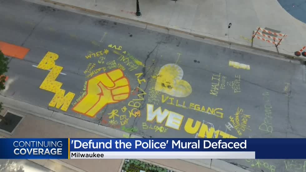 'Defund The Police' mural defaced outside Milwaukee City Hall