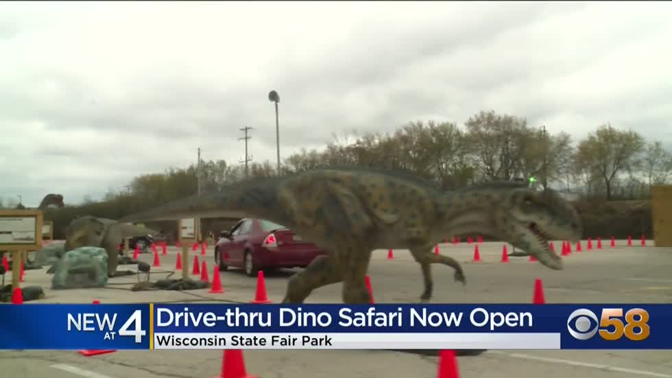The Dino Safari drive-thru opens at Wisconsin State Fair Park...