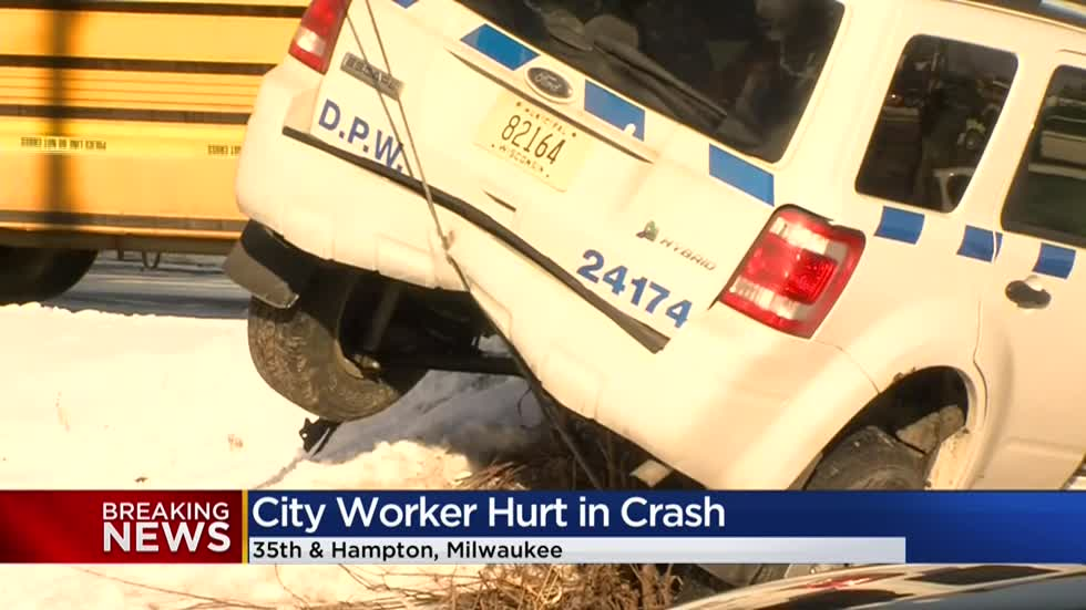 City of Milwaukee DPW vehicle struck by driver fleeing police in stolen car