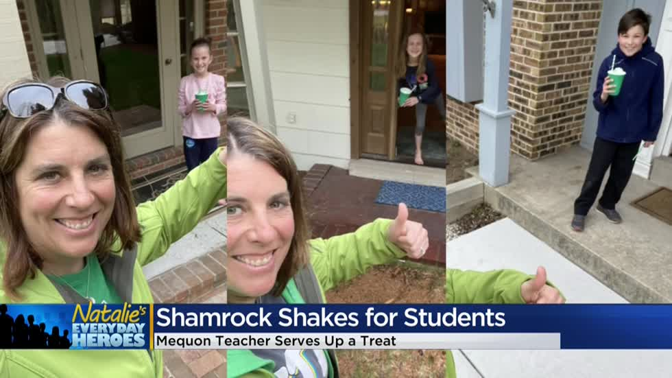 Natalie's Everyday Heroes: 4th grade teacher Lisa Eckes delivers shamrock shakes to students