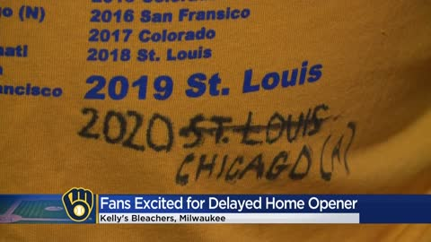 Fans celebrate Brewers home opener after delays