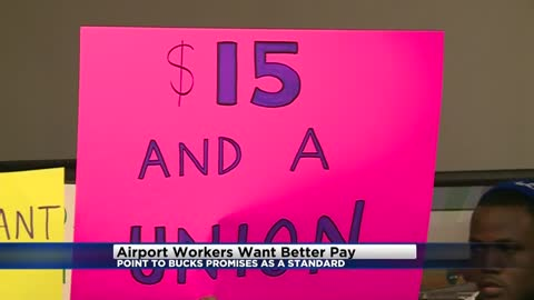 Airport workers push for better pay, want standards similar to Bucks arena workers