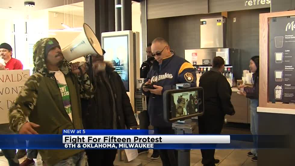 Fight for $15 campaign protests at McDonald's near 6th and Oklahoma