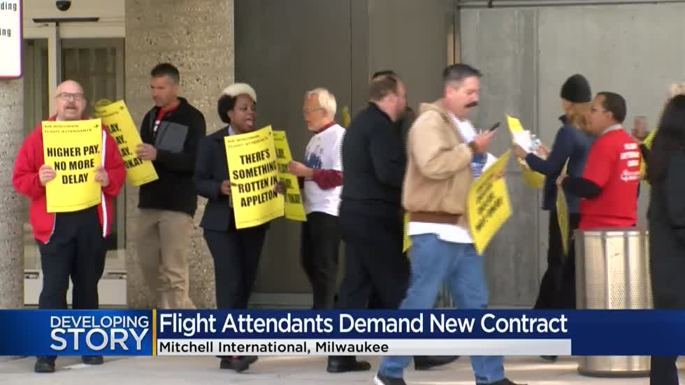 Flight attendants protest for new contract outside Mitchell International
