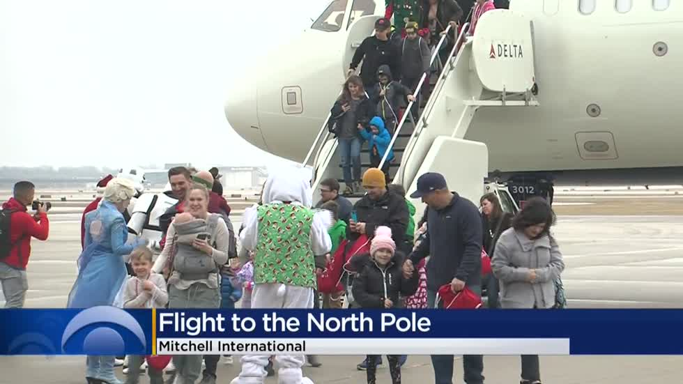 Kids fighting cancer take off from Mitchell International Airport on special flight to the North Pole