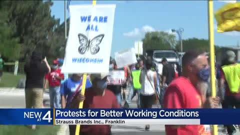 Protesters demand better working conditions at Franklin meatpacking...