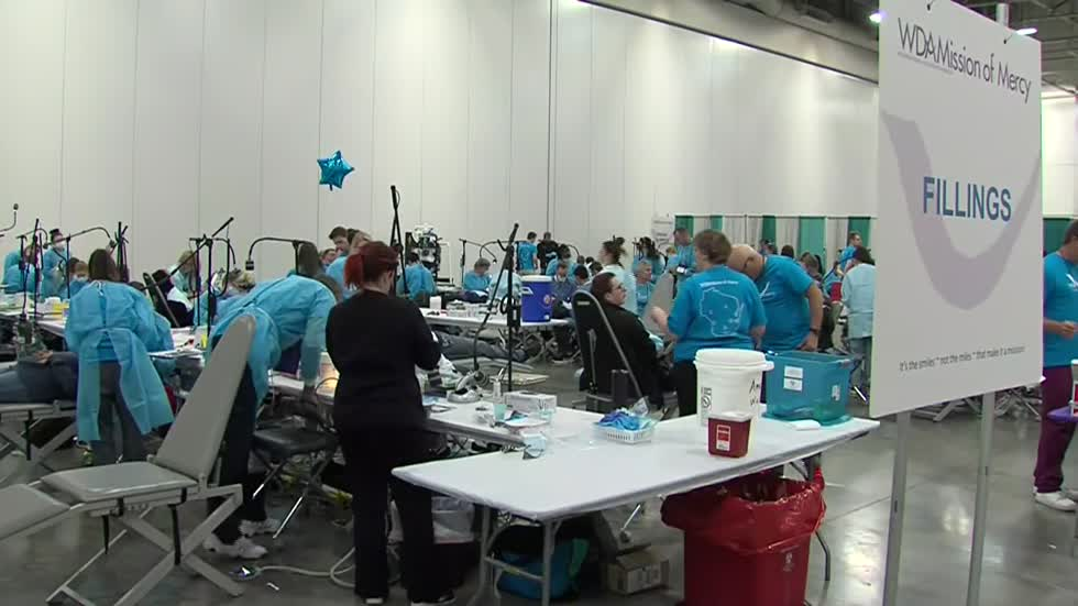 Dentists from across Wisconsin gather at State Fair Park to give free dental care