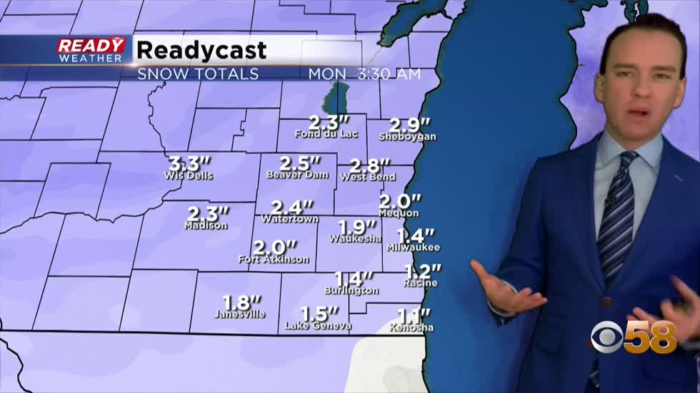 Another round of snow arrives Sunday afternoon