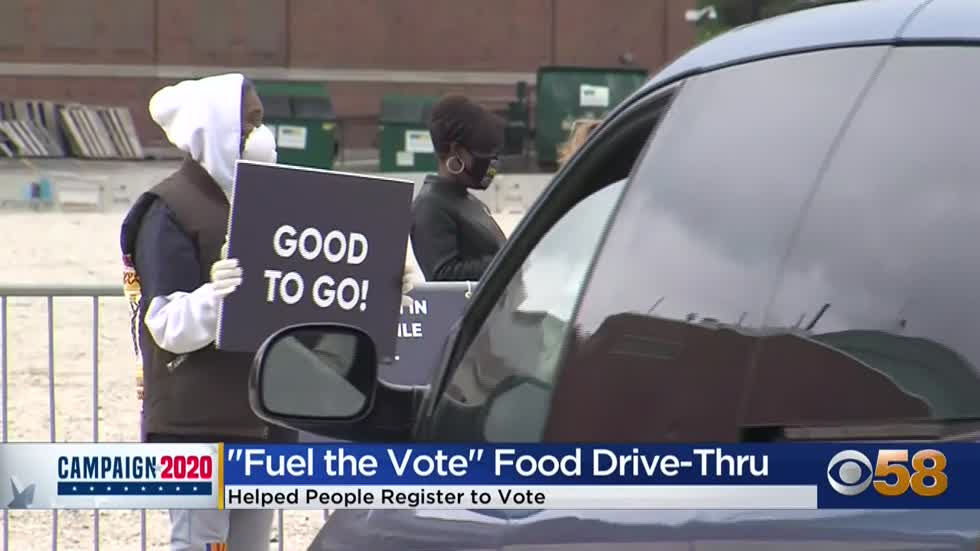 'Fuel the Vote' food drive-thru helps people get registered