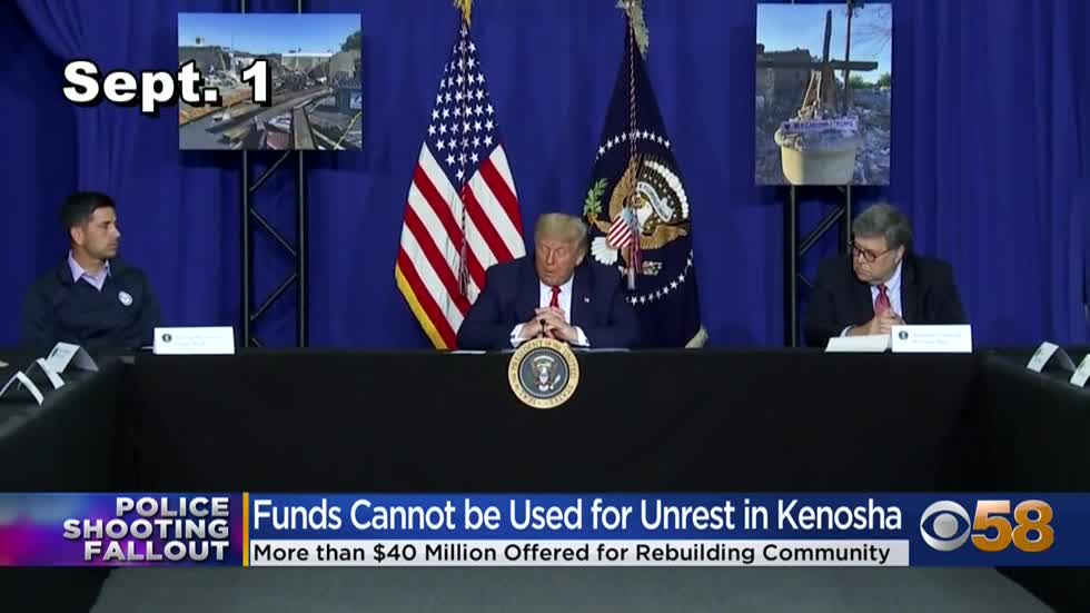 Gov. Evers, Sen. Baldwin say money announced by Pres. Trump can't be used to rebuild Kenosha