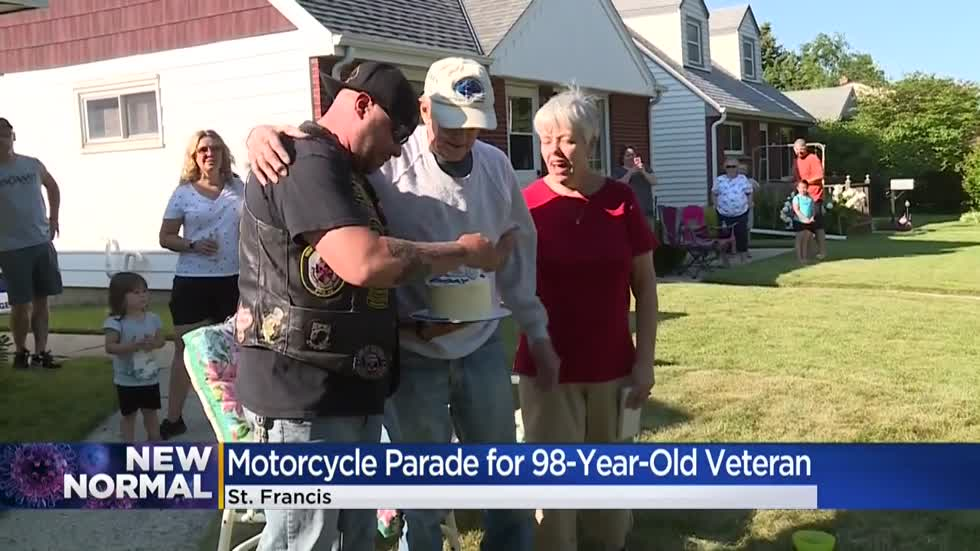 Local WWII veteran celebrates 98th birthday with drive-by motorcycle parade