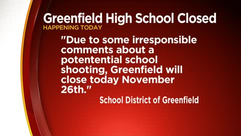 Greenfield High School closes Tuesday due to school shooting threat