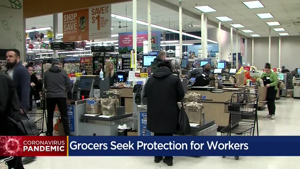 Local grocery stores demand first responder status for their workers