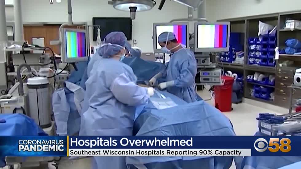 Southeast Wisconsin hospitals report 90-percent capacity as virus...