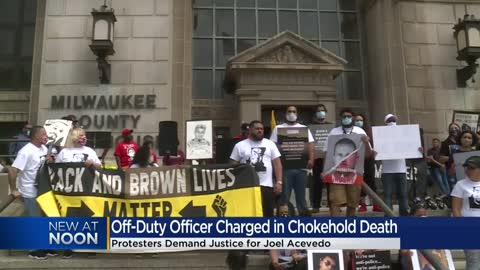 Demonstrators seek justice for Joel Acevedo as officer charged in his death makes first court appearance