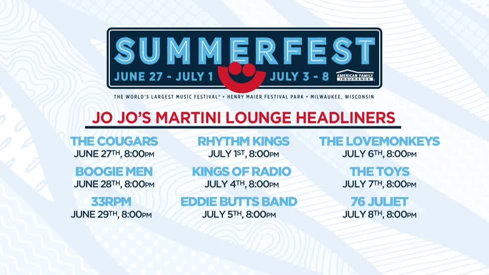 Summerfest's JoJo's Martini Lounge headliners announced
