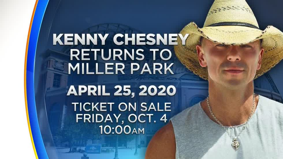 Kenny Chesney to perform at Miller Park on April 25