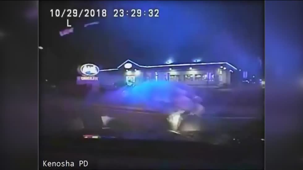 Dashcam released of motorcycle crashing into Kenosha Police car