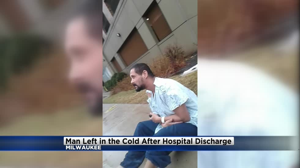 Outrage after photo shows man left in the cold after hospital discharge