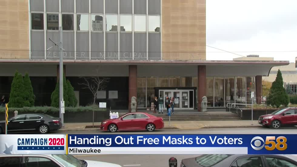 Masks distributed at polling places to encourage safe early voting