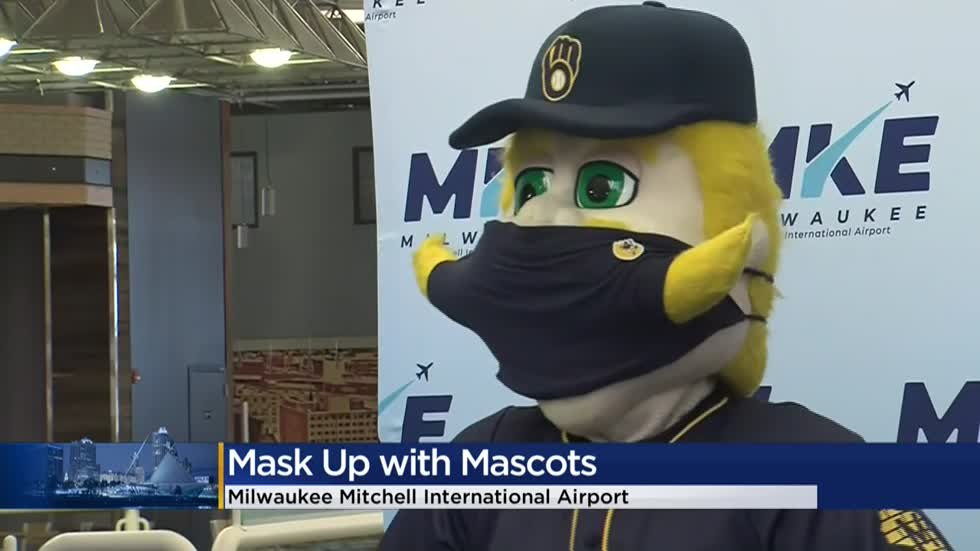 'Mask up with Mascots' promotes social distancing and safety at Milwaukee airport