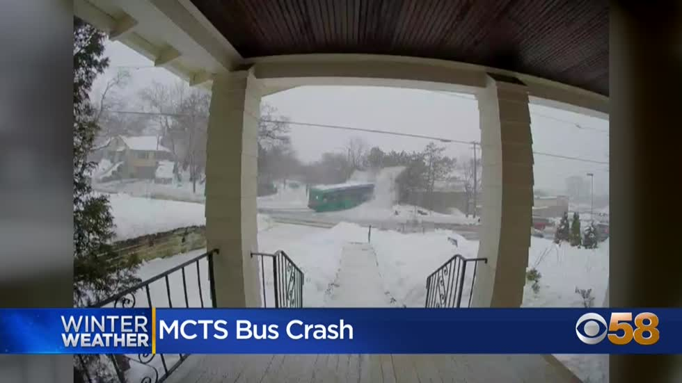 'I guess it just skated right in': MCTS bus crashes into trees in Wauwatosa