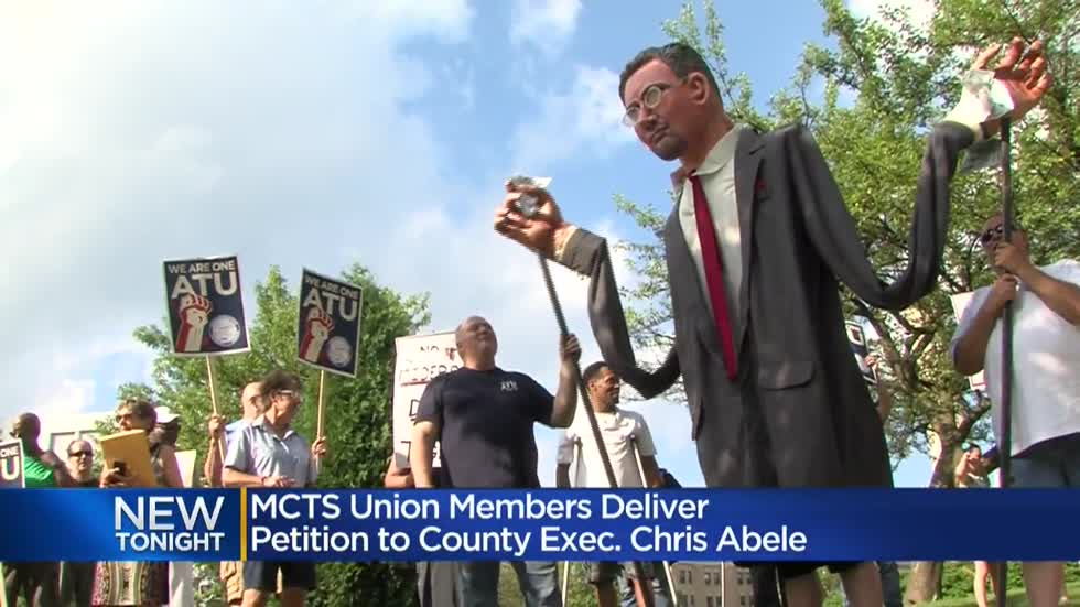 MCTS union members deliver petition to Milwaukee County Executive Chris Abele