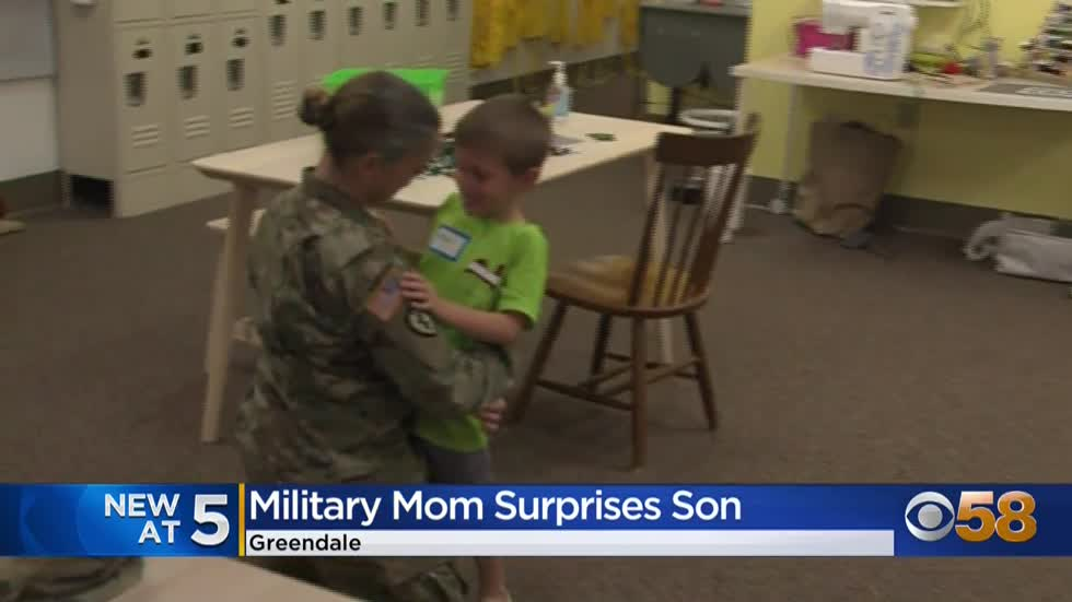 Military mom surprises son at Greendale school after 10 months...