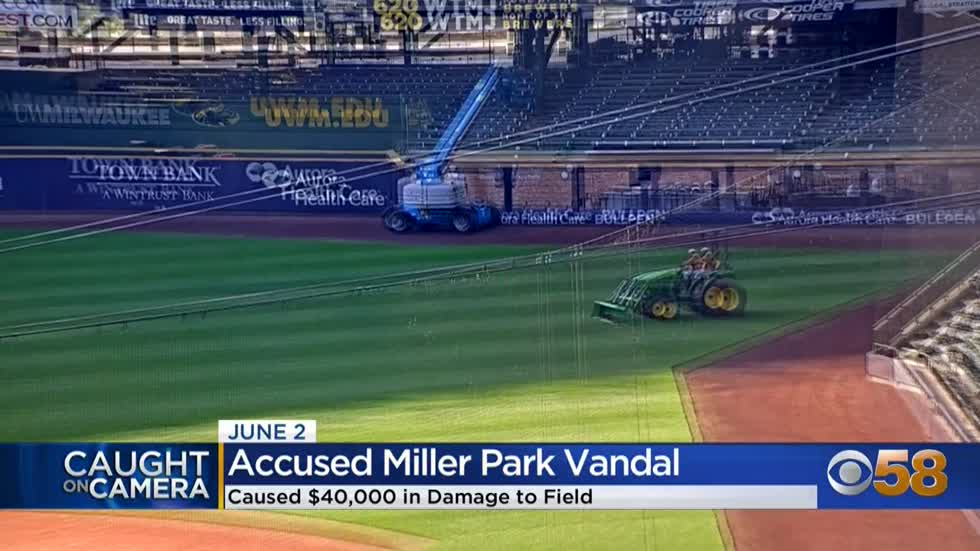 Man breaks into Brewers' stadium, digs up field with tractor
