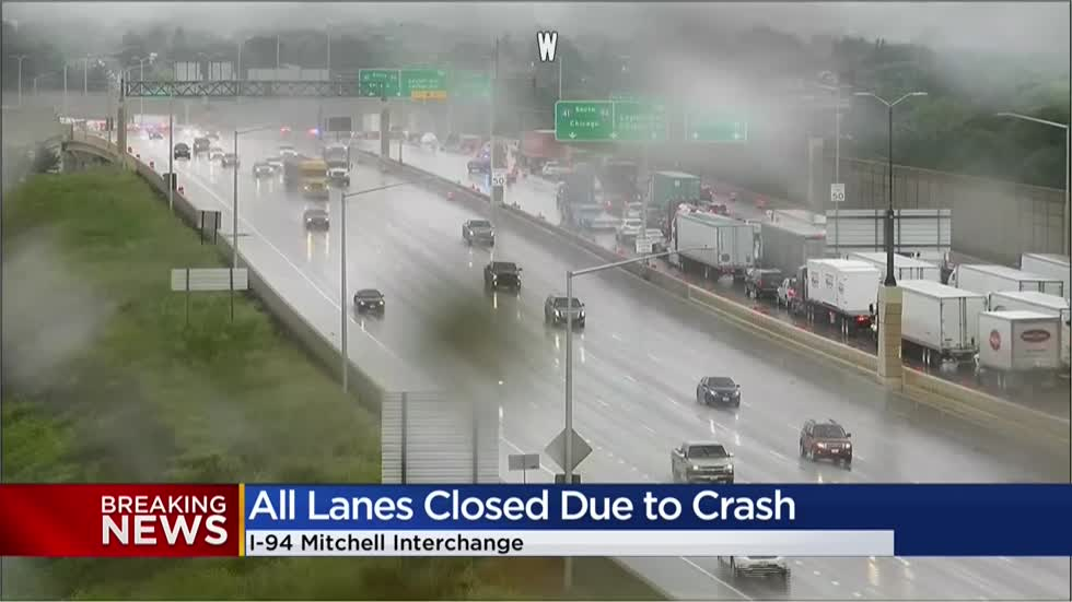 UPDATE: Lanes reopen after rollover crash on I-94 at Mitchell Interchange