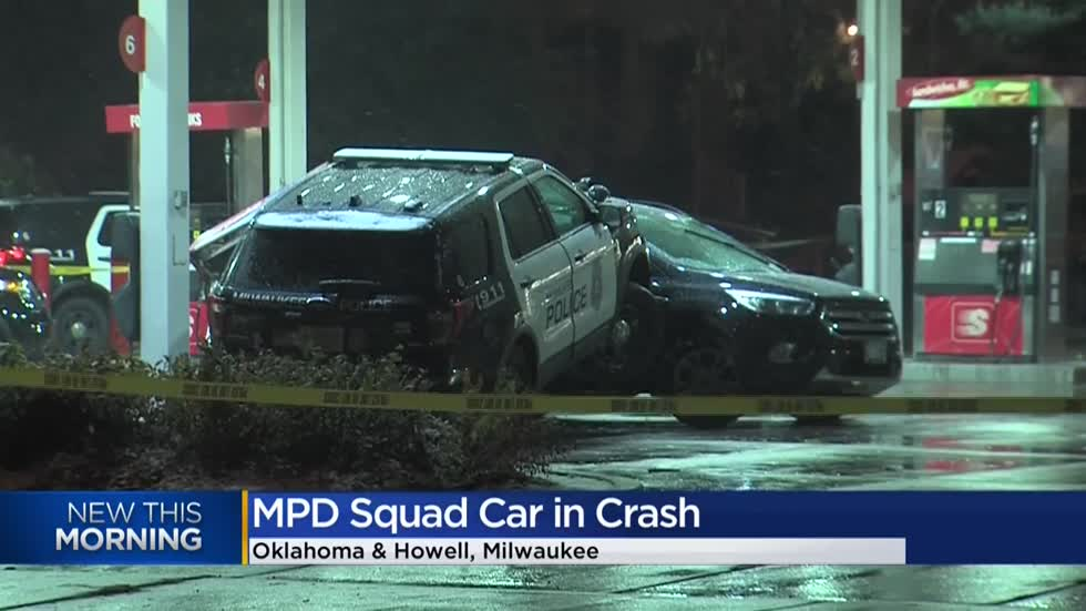 Milwaukee squad car crashes due to weather conditions while responding to armed robbery